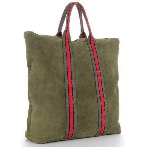 21e79c9c9e512 Torebki skórzane w paski modny włoski shopper w rozmiarze xl do noszenia na  co dzień firmy made in italy z funkcją plecaczka zieleń (kolory) marki  Vittoria ...