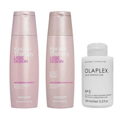 keratin therapy maintenance and hair perfector no.3 | zestaw do włosów: szampon 250ml + odżywka podtrzymująca efekt wygładzenia 250ml + regenerująca kuracja do włosów 100ml marki Alfaparf