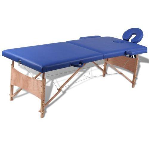 vidaXL Niebieski składany stół do masażu 2 strefy z drewnianą ramą - sprawdź w wybranym sklepie
