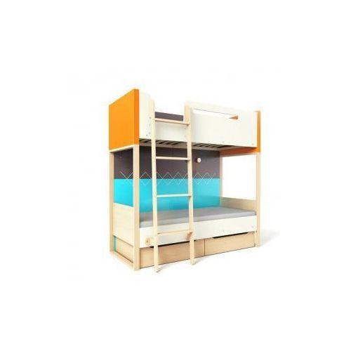 Loft łóżko piętrowe z pojemnikami TIMOORE PLUS pomarańczowe - wersja premium - oferta [055bd9a43f3315d2]
