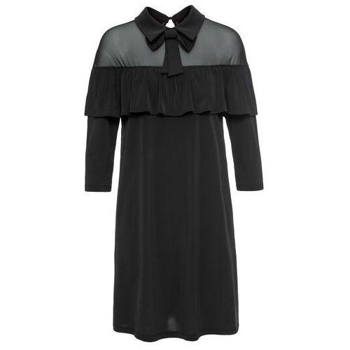 Sukienka z kołnierzykiem i falbaną czarny marki Bonprix