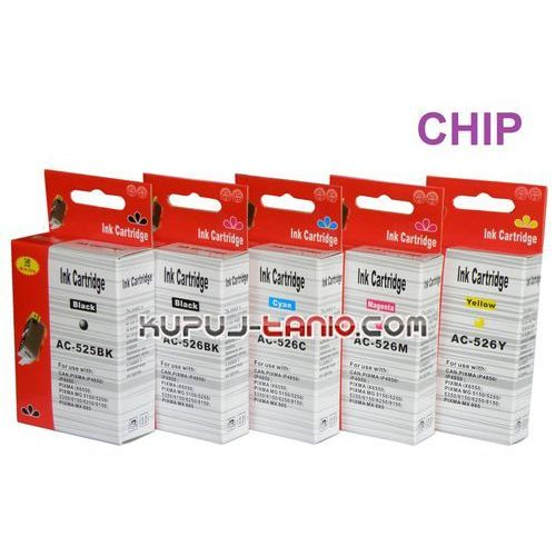 tusze PGI-525BK - CLI-526 do Canon (5 szt z chipami, Arte) tusze do Canon MG5250, MG5350, MG5150, iP4850, iP4950, MG6150, MG6250 - produkt z kategorii- tusze