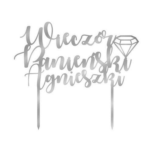 Congee.pl Topper z lustrzanej pleksi srebrny na tort wieczór panieński personalizowany - 20 cm