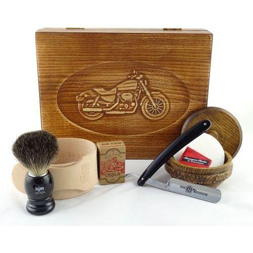 Margo Retro motocykl 7-elementowy zestaw do golenia brzytwą w drewnianym pudełku, czarny