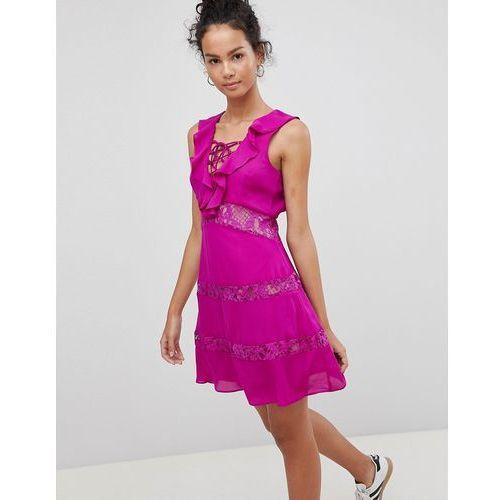 Glamorous lace up dress with frill - purple