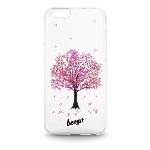 Silikonowa nakładka etui beeyo Blossom do iPhone 6/6s transparentna + różowa, kolor zielony