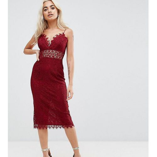 lace cami midi pencil dress - red, Asos petite