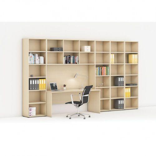 Biblioteka z wbudowanym biurkiem, wysoka/szeroka, 3350x700/400x2300 mm, brzoza