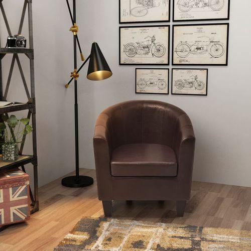 fotel ze sztucznej skóry brązowy marki Vidaxl
