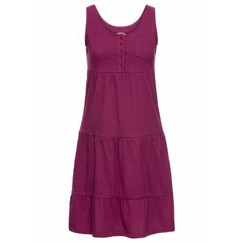 Sukienka bawełniana z dżerseju, krótki rękaw jeżynowy, Bonprix, 32-42