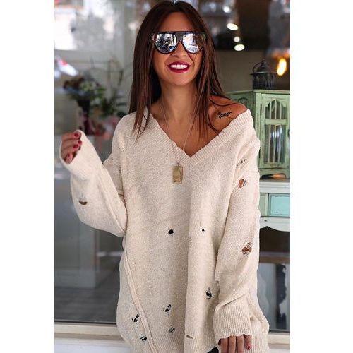Damski sweter ELEANORA ECRU, kolor beżowy