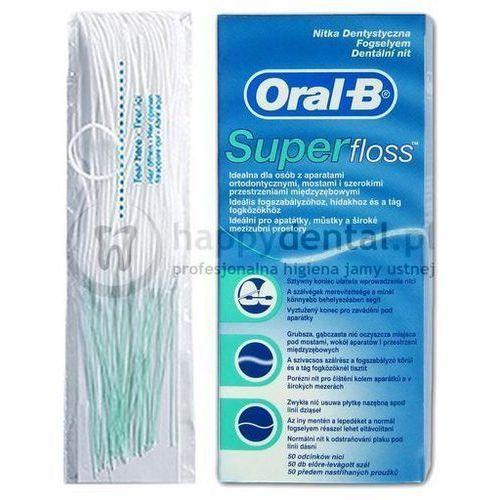 superfloss 60cm x 50szt. - nić dentystyczna z cienką gąbką czyszczącą do mostów, aparatów marki Oral-b