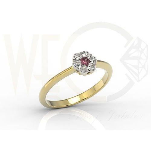 Pierścionek z żółtego i białego złota z rubinem i diamentami JP-87ZB - rubin i diamenty, kolor czerwony