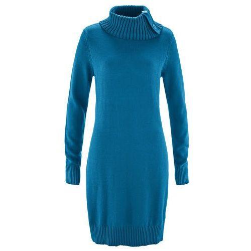 Długi sweter bonprix niebieski oceaniczny, kolor niebieski
