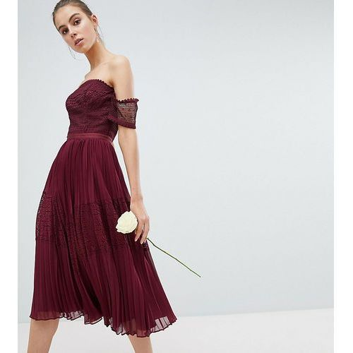 Asos tall Asos design tall premium guipure lace panelled midi dress - red