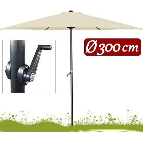 Duży parasol ogrodowy o średnicy 300cm z korbą wyprodukowany przez Wideshop
