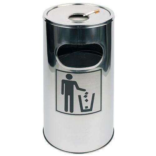 Aps Kosz na śmieci ze stali nierdzewnej z nakładaną popielniczką o średnicy 300 mm | , 00575