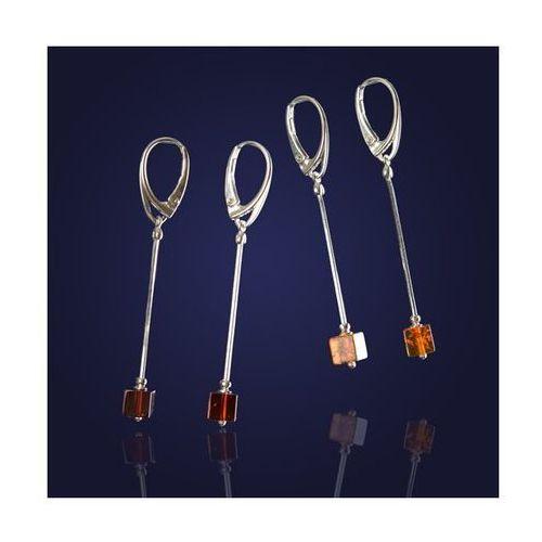 Kolczyki srebrne-Kosteczka bursztnowa w połączeniu ze srebrem-w dwóch kolorach: koniak i wiśnia., produkt marki AnKa Biżuteria