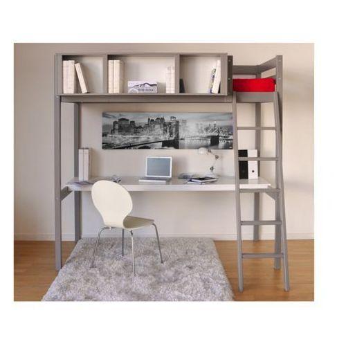 Łóżko antresola giacomo - 90 × 190 cm - z biurkiem i półkami - drewno świerkowe szary marki Vente-unique