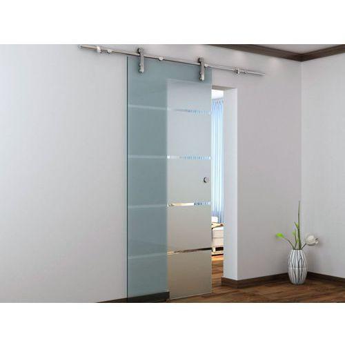 Naścienne drzwi przesuwne glassy - wys. 205 × szer. 83 cm - szkło hartowane marki Vente-unique