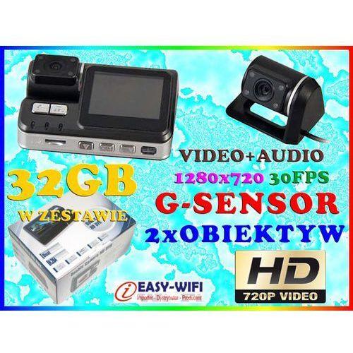 KAMERA SAMOCHODOWA HD720 DET RUCHU Z KAMERĄ COFANIA + KARTA KINGSTON 32GB, Sklep Easy-WiFi