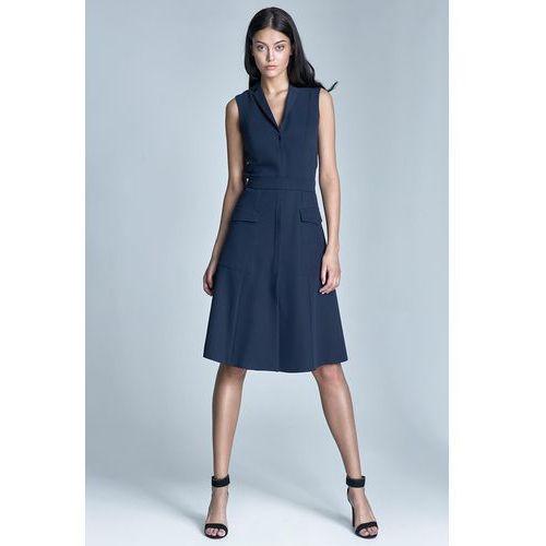 Granatowa sukienka koszulowa szmizjerka z kieszeniami bez rękawów marki Nife