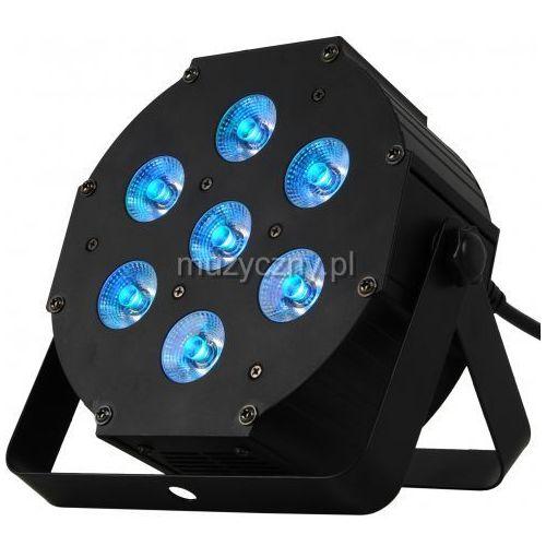 MLight Flat7 LED PAR 6-in-1 RGBWA+UV - reflektor LED płaski, obudowa metalowa, czarna