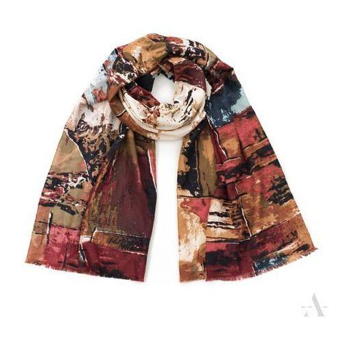 Szal damski Kolorowe Impresje - brąz + multikolor - brązowy   wielokolorowy, kolor brązowy
