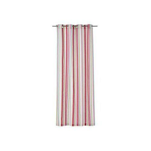 Zasłona gotowa stripe kolor czerwony 140 x 250 cm kółka 220 g/m² marki Inspire