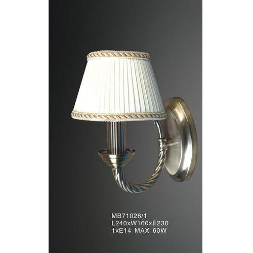 Kinkiet lampa ścienna frati mb71028/1 klasyczna oprawa abażurowa biała złota marki Italux