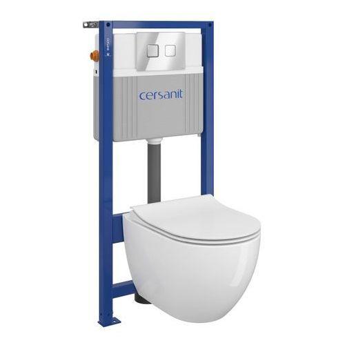 Zestaw podtynkowy WC Cersanit Bari bezkołnierzowy przycisk pneumatyczny chrom, SZWZ1005206599