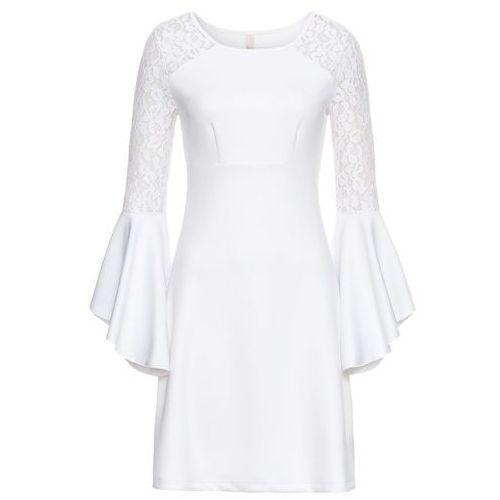 ed0726ac24 Sukienka z falbanami i koronką biały marki Bonprix 149