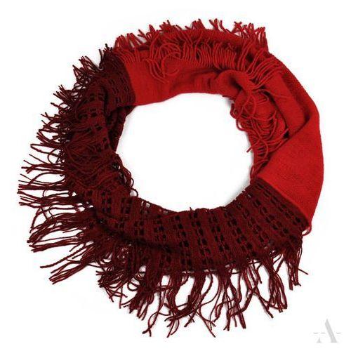 Evangarda Ażurowy szalik damski komin bordowo-czerwony - czerwony   bordowy