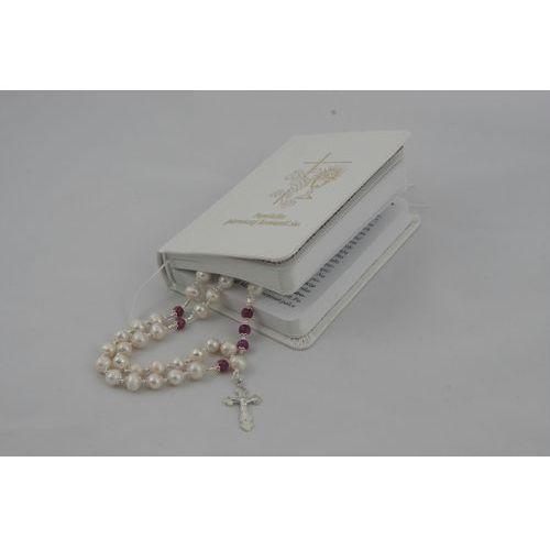 Luksusowy Różaniec Snow White - perły i rubiny - idealny na prezent