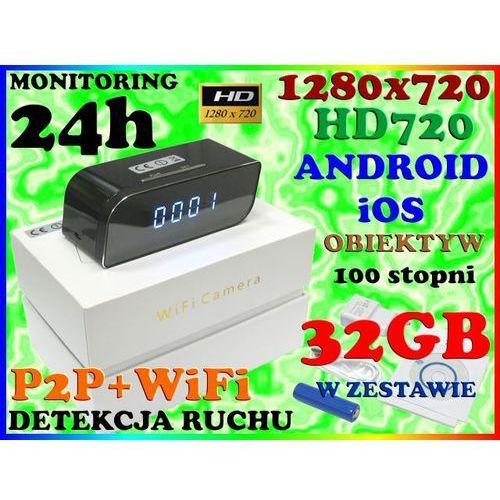 KAMERA ZEGAR WiFi SZEROKOKĄTNY OBIEKTYW 100 stopni 720p Android iOS + 32GB (kamera monitoringowa)
