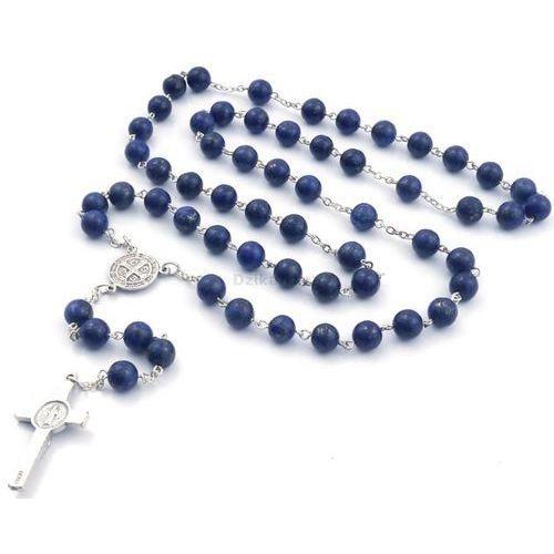Różaniec z kamieni lapis lazuli ze Św. Benedyktem