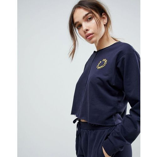 lounge embroidered 'do nothing club' front seam sweat - navy marki Asos