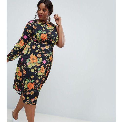 Asos curve Asos design curve one shoulder balloon sleeve midi dress in floral print - multi