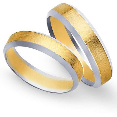 Obrączki z żółtego i białego złota 5mm - O2K/092 - produkt dostępny w Świat Złota