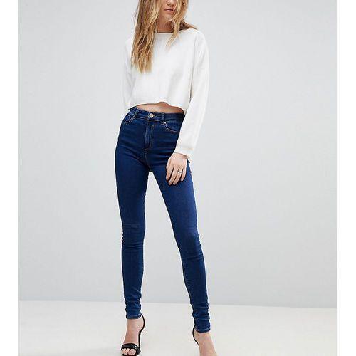 ASOS DESIGN Tall Ridley high waist skinny jeans in deep blue wash - Blue, kolor niebieski