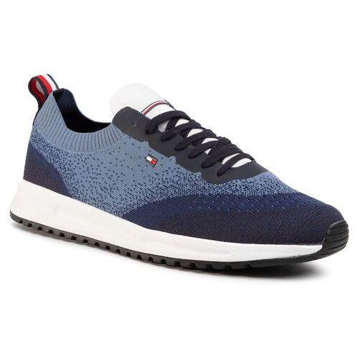 Sneakersy TOMMY HILFIGER - Modern Knit Runner FM0FM02663 White YBS, kolor niebieski