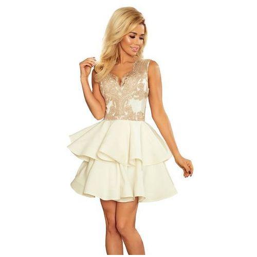fec7980caa Beżowa ecru rozkloszowana imprezowa sukienka z koronką