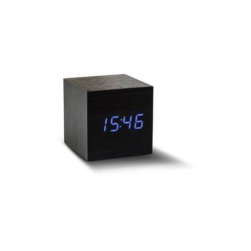 Gingko Zegar stołowy, budzik maxi cube black click clock / blue led by