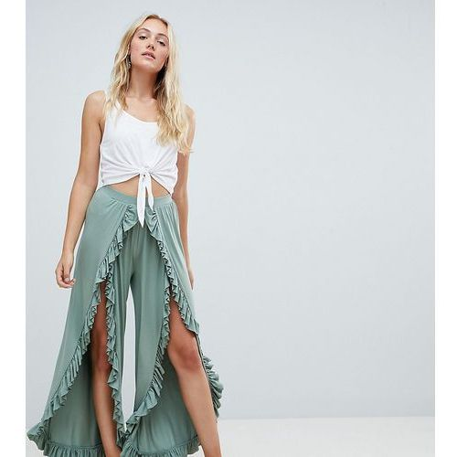 Asos tall Asos design tall wide leg trousers with high low frill hem - green