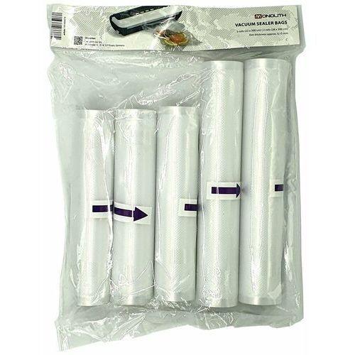 Monolith Folia do zgrzewarki (pakowarki) próżniowej va002, 3 rolki 22x300cm i 2 rolki 28x300cm, 0.15mm