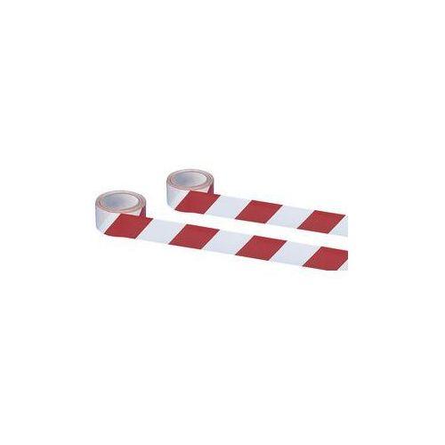 Samoprzylepna taśma ostrzegawcza i znakująca,kolor czerwony / biały marki Moravia
