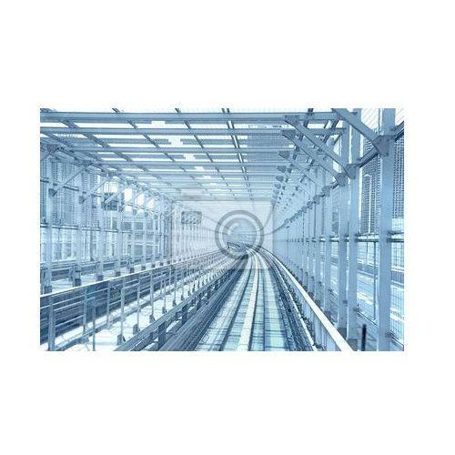 Fototapeta Tokio jednotorowe system transportu linia tunel metalu. Niebieski ton, Redro z REDRO