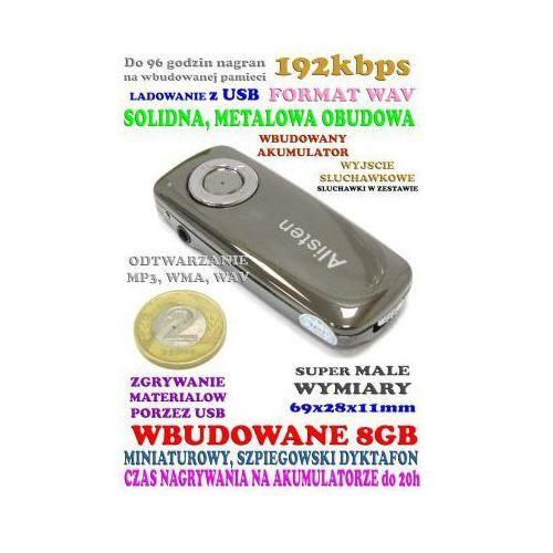 Microview Malutki rejestrator dźwięku/podsłuch nagrywający (8gb/96h.) + słuchawki do odsłuchu itd.