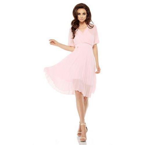 Zwiewna sukienka L255 pudrowy róż, kolor różowy