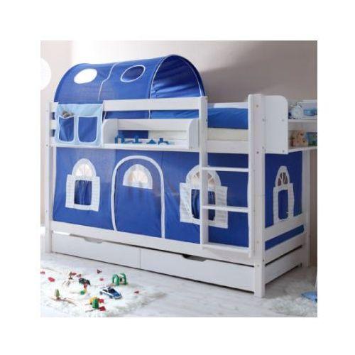 Ticaa kindermöbel Ticaa łóźko piętrowe marcel sosna biel domek- niebieski/biały - bez tunelu